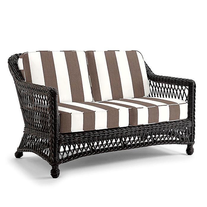 Copy of Hampton Loveseat in Black Walnut Finish with Cushions in Resort Stripe Mink