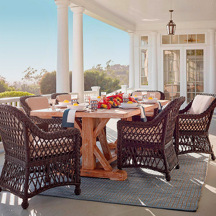Copy of Washed Teak Farmhouse Table, Hampton Dining in Driftwood Finish