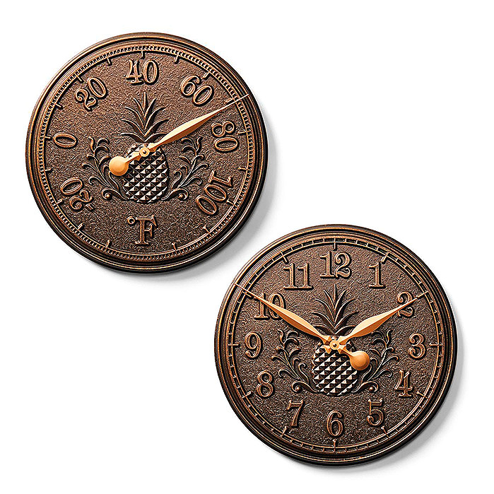 Copy of Classic Pineapple Clock and Thermometer in Bronze