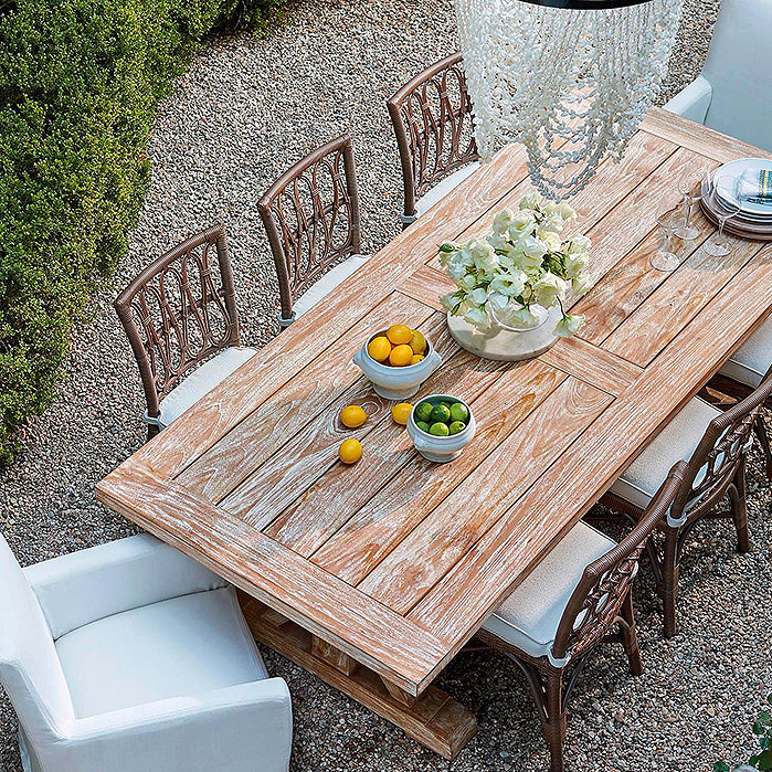 Copy of Myla Dining in Umber Finish, Washed Teak Farmhouse Table