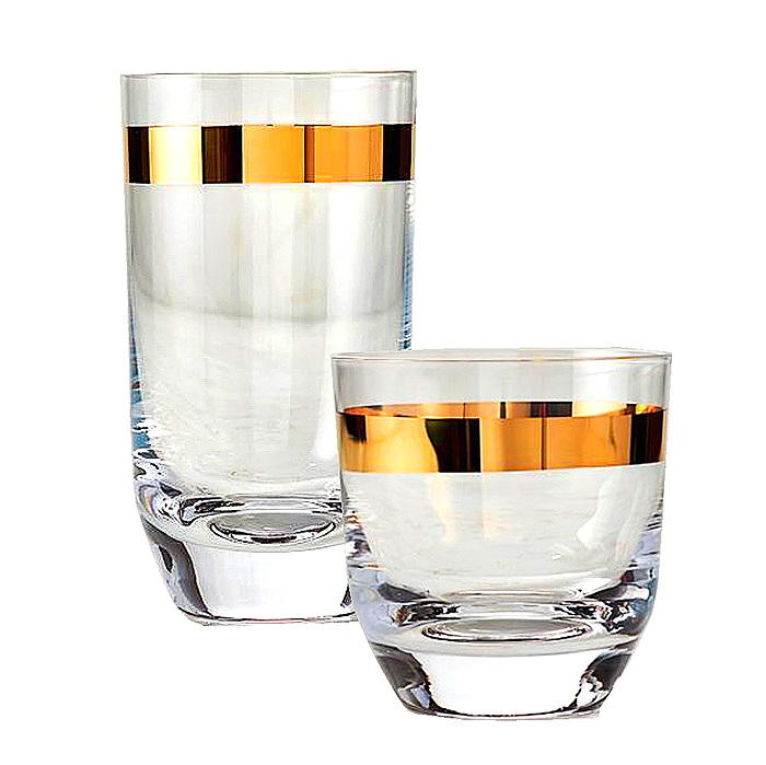Arte Italica Semplice Double Old-fashioned & Highball Glasses, Sets of 4