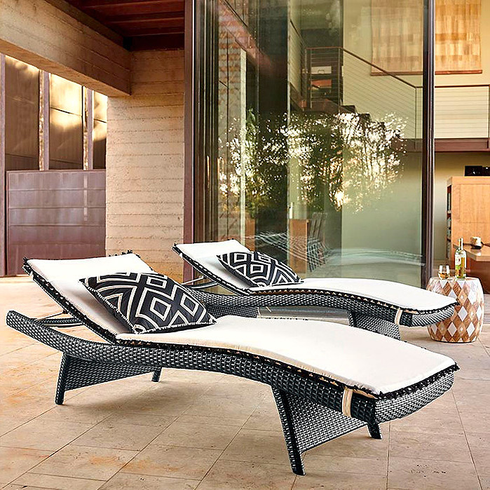 Balencia Black Chaises, Set of Two