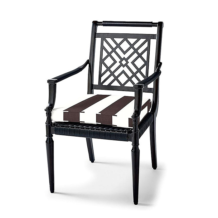 Montserrat Dining Arm Chairs with Cushions in Resort Stripe Black, Set of Two