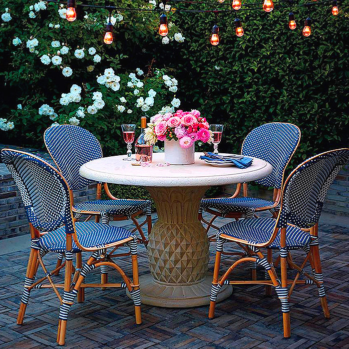 Stonecast Pineapple Umbrella Table & Paris Bistro Side Chairs, Set of Two