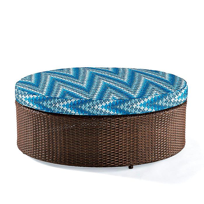 Pasadena Ottoman with Cushion in Maldonado Ridge Air Blue