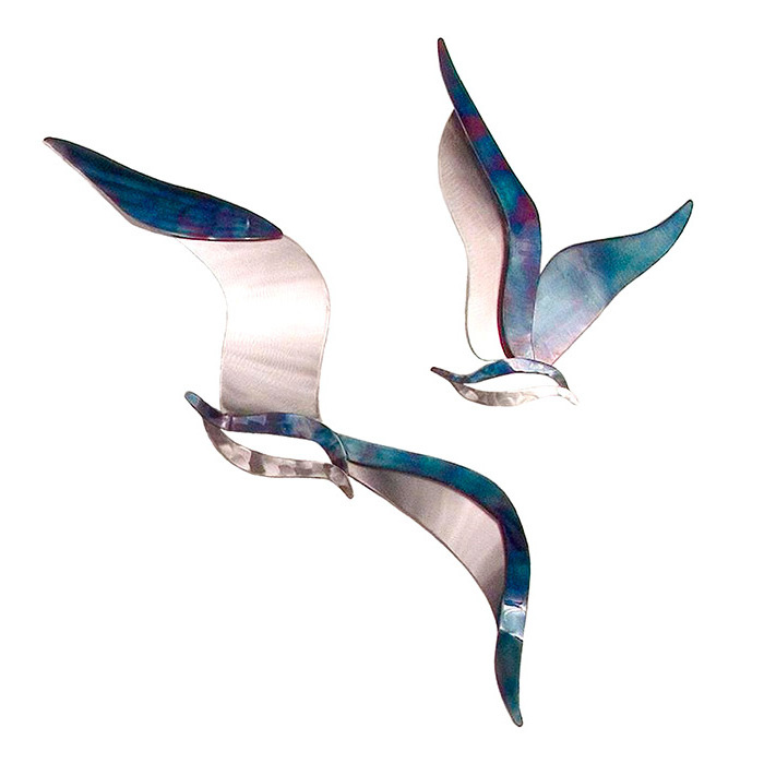 Set of Two Soaring Seagulls Wall Art by Copper Art