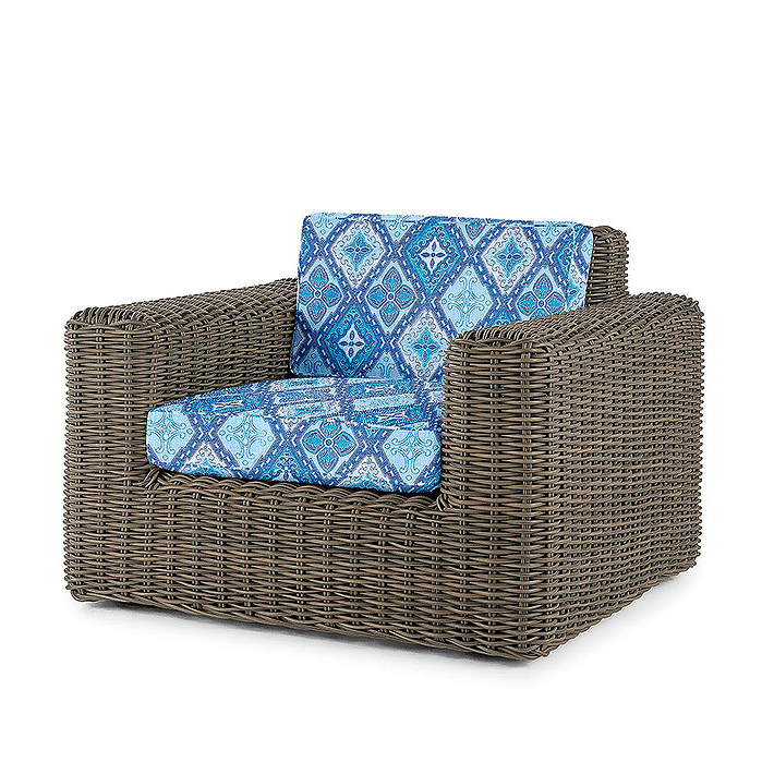 Vista Lounge Chair with Cushions in Savona Tile Cobalt