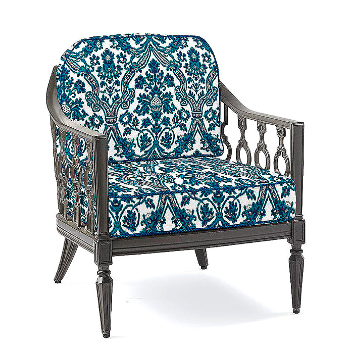 Avery Lounge Chair with Cushions in Medina Carpet Indigo with Rumor Midnight Piping