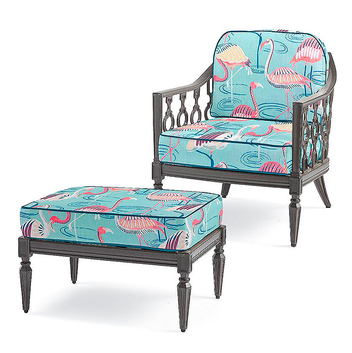 Avery Lounge Chair & Ottoman with Cushions in Flamingo Oasis Aqua with Spectrum Peacock Piping