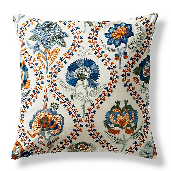 Illustrated Floral Decorative Pillow Cover in Aegean