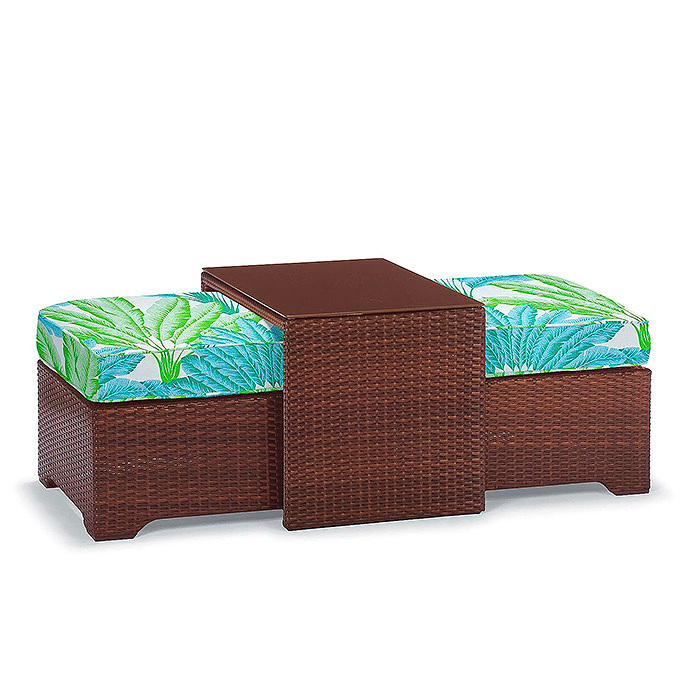 Palermo Coffee Table with Nesting Ottomans in Bronze Finish, Cushion in Atherton Palm Seaglass
