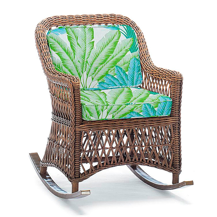 Hampton Rocker in Driftwood Finish with Cushions in Atherton Palm Seaglass