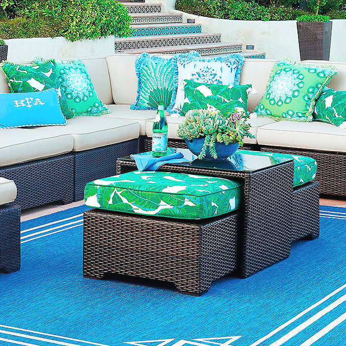 Palermo Coffee Table with Nesting Ottomans in Bronze Finish, Pillow in Amazon Emerald