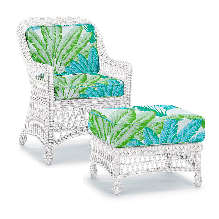 Hampton Lounge Chair & Ottoman in Ivory Finish, Cushions in Atherton Palm Seaglass