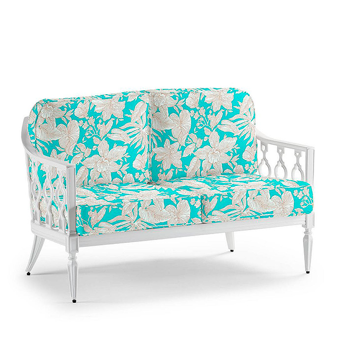Avery Loveseat in White with Cushions in Bermuda Breeze Aruba