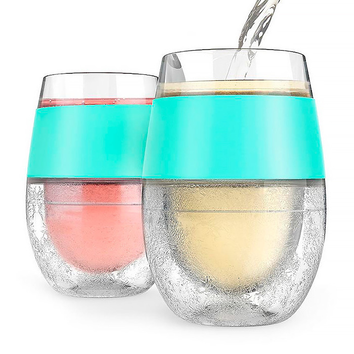 FREEZE Cooling Wine Glasses, Set of Two in Mint