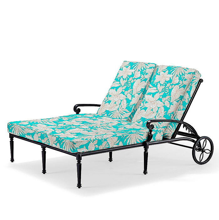 Carlisle Double Chaise Lounge in Onyx Finish with Cushions in Bermuda Breeze Aruba