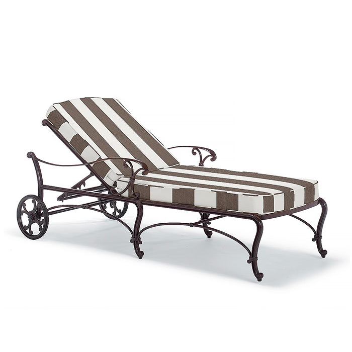 Copy of Orleans Chaise in Chocolate Finish with Cushions in Resort Stripe Mink