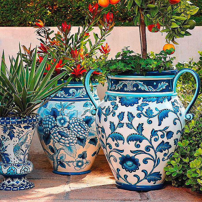 Blue and White Painted Planters