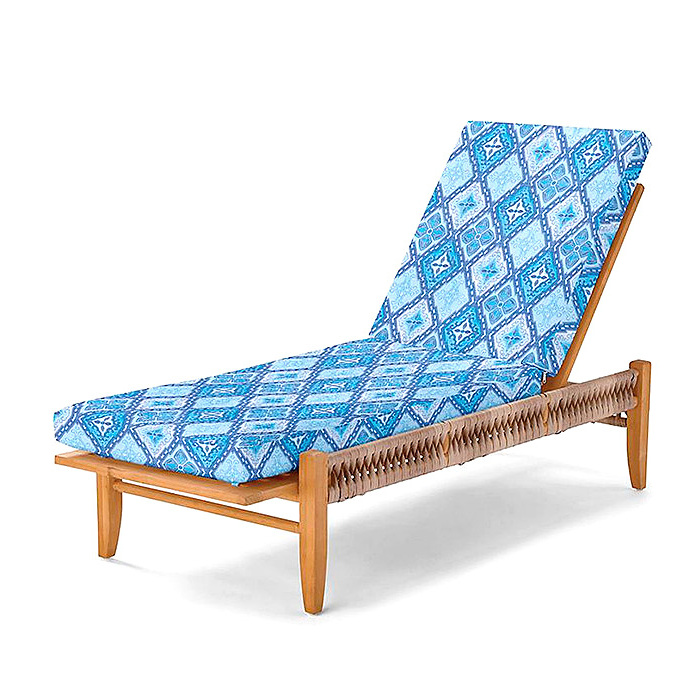 Copy of Laguna Chaise with Cushions in Savona Tile Cobalt