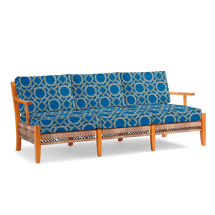 Copy of Laguna Sofa with Cushions in Stitched Fret Cobalt