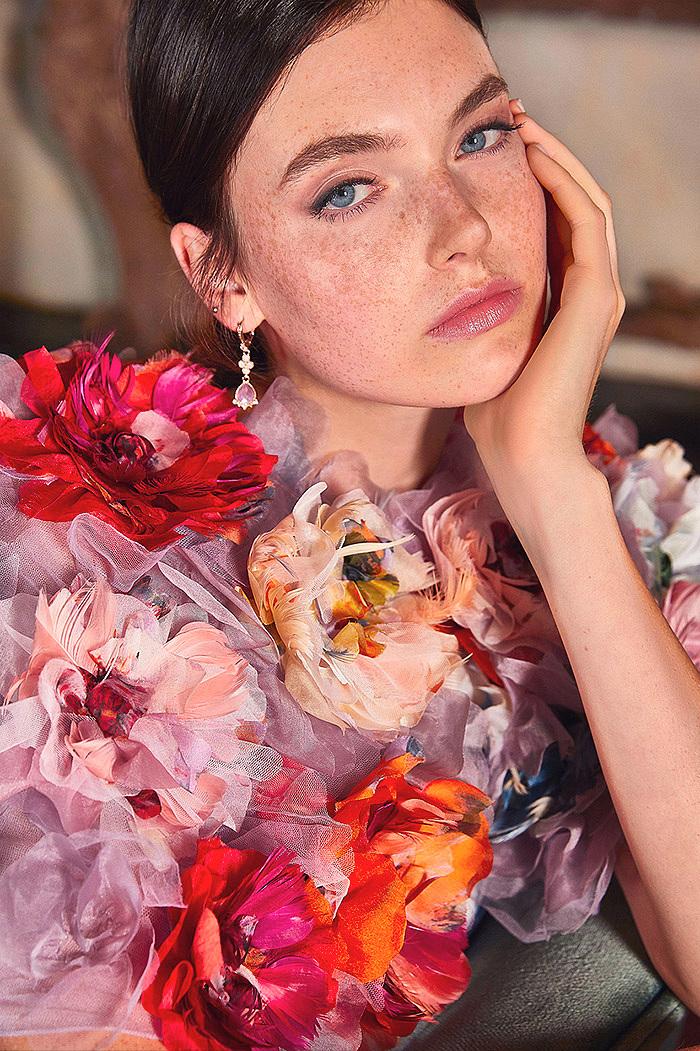 Floral-Embellished Silk Capelet