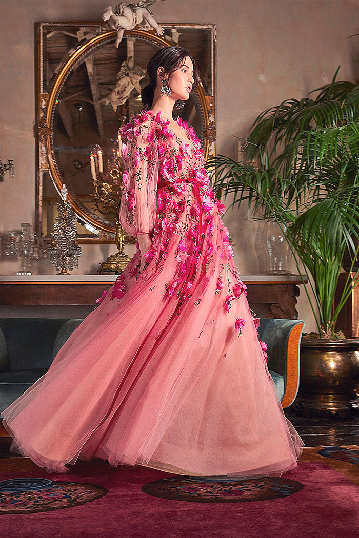 Pink Bead And Floral-Embroidered Tulle Gown