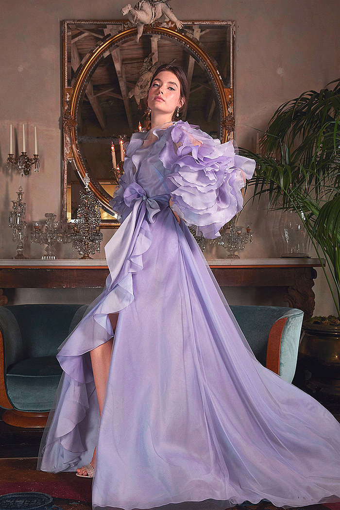Purple Ruffle-Accented Ombre Organza Gown
