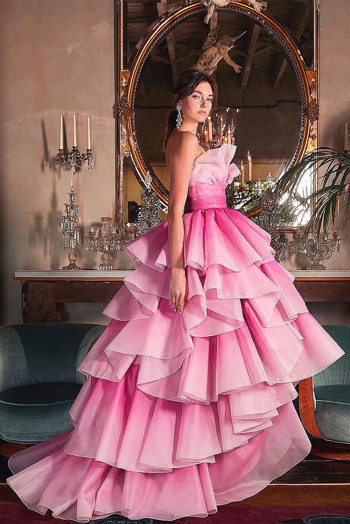 Pink Tiered-Ruffle Strapless Tulle Gown