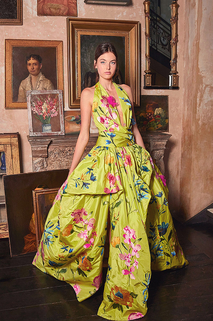 Yellow Floral-Embroidered Taffetta Halterneck Gown