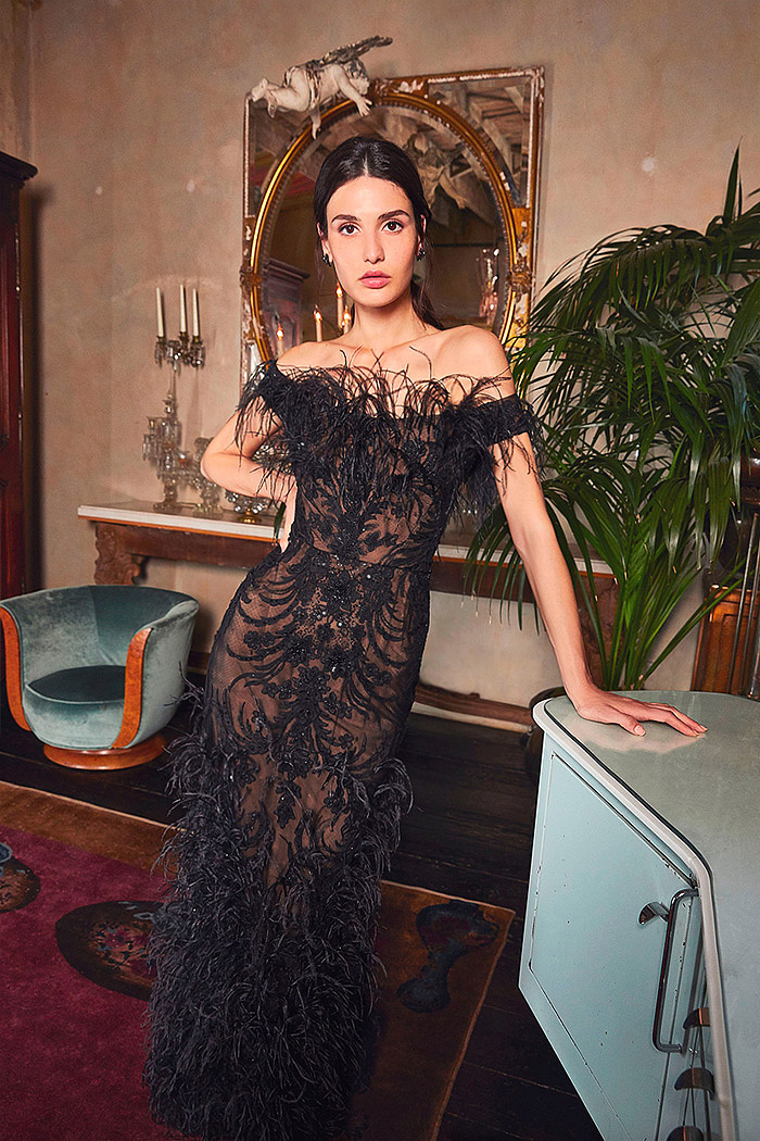 Black Ostrich Feather-Embellished Organza Gown