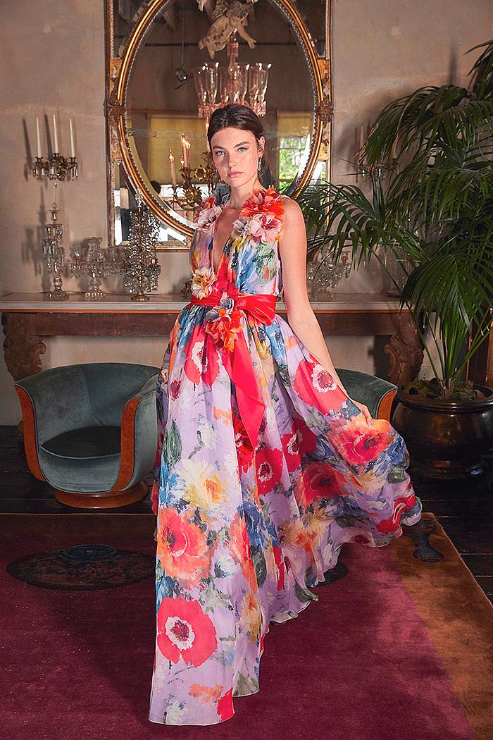 Floral-Pattenerd Silk-Organza Gown