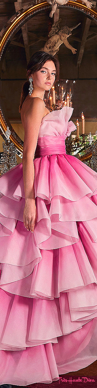 Marchesa Resort 2020 Pink Tiered-Ruffle Strapless Tulle Gown
