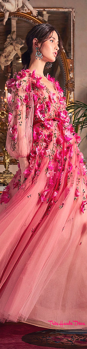Marchesa Resort 2020 Pink Bead And Floral-Embroidered Tulle Gown