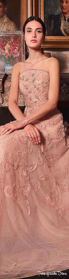 Marchesa Resort 2020 Pink Embelllished Organza Strapless Gown