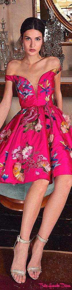 Marchesa Resort 2020 Pink Embroidered Taffeta Mini Cocktail Dress