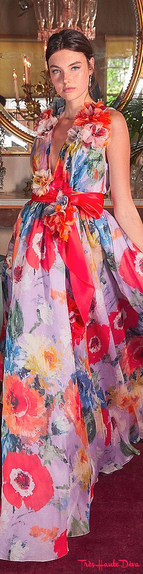 Marchesa Resort 2020 Floral-Pattenerd Silk-Organza Gown