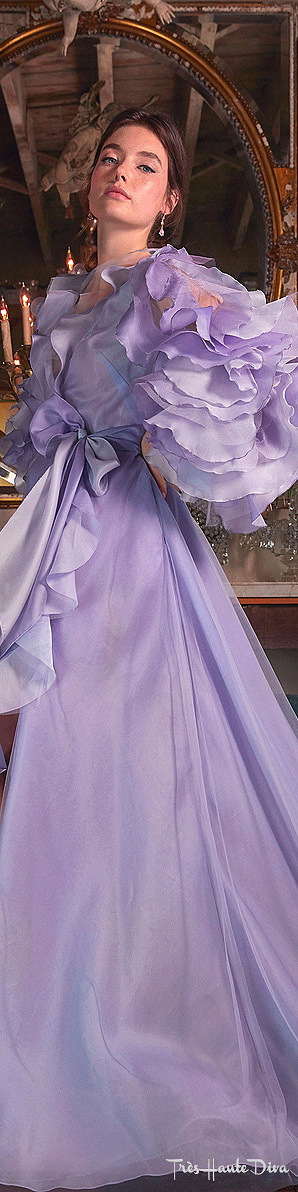 Marchesa Resort 2020 Purple Ruffle-Accented Ombre Organza Gown