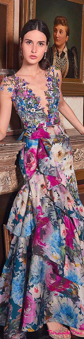 Marchesa Resort 2020 Bead-Embellished Organza Gown