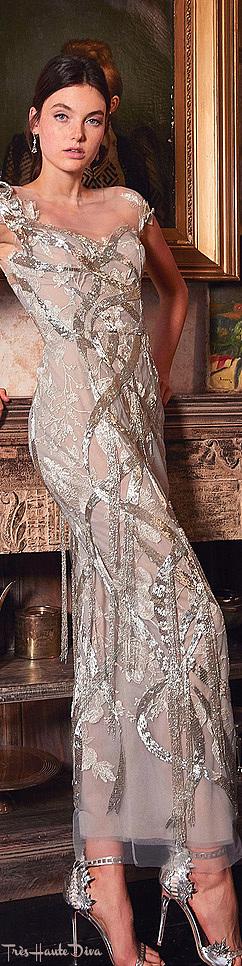 Marchesa Resort 2020 Silver Fringe-Embellished Organza Gown