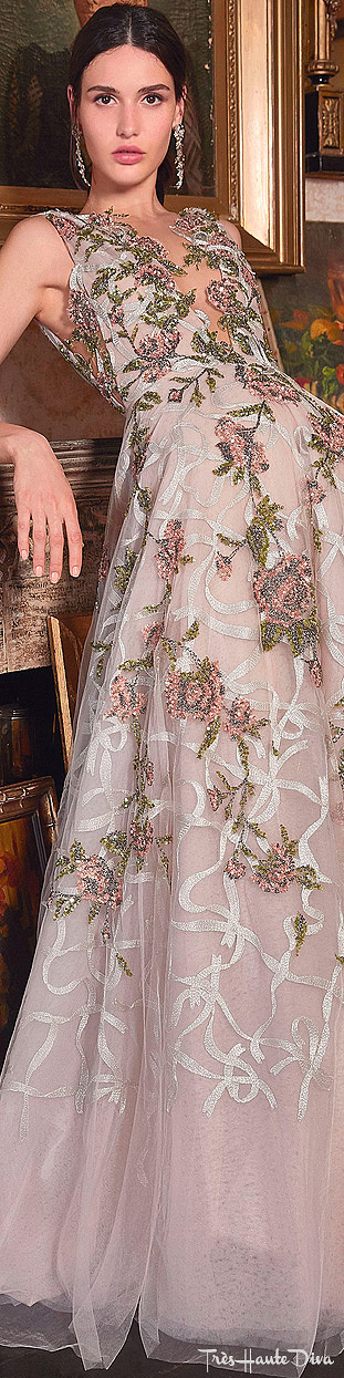 Marchesa Resort 2020 Floral-Embroidered Tulle Gown