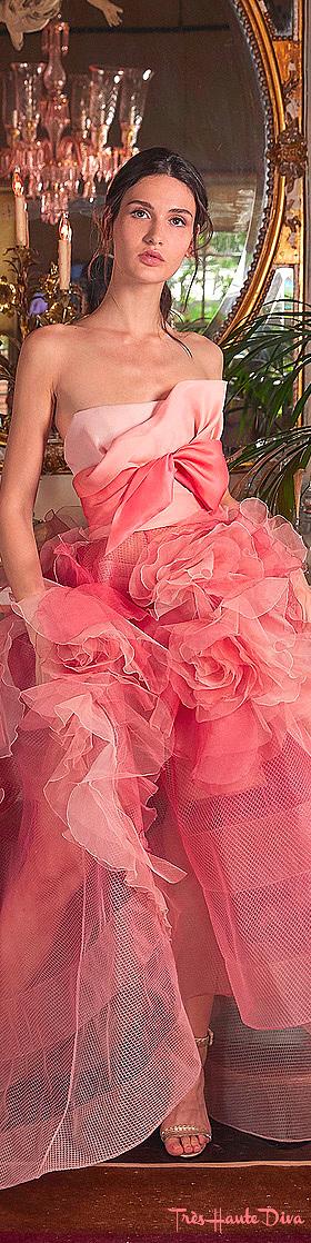 Marchesa Resort 2020 Orange Bow-Embellished Silk Organza Gown
