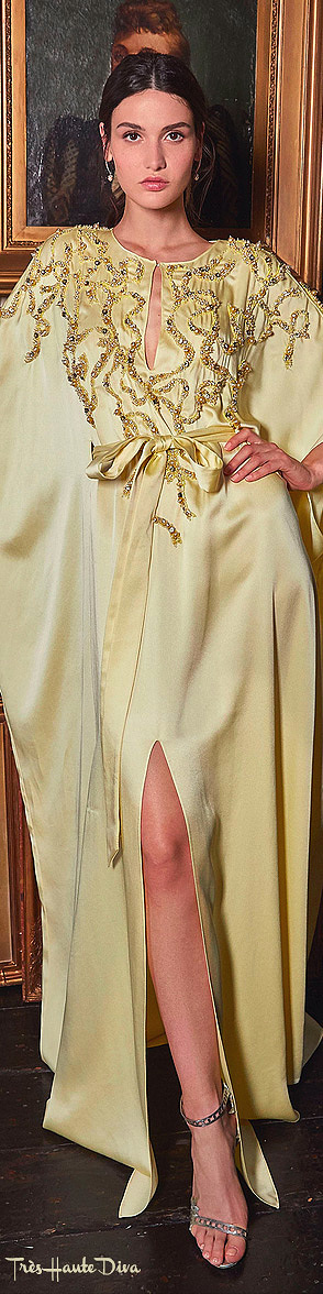 Marchesa Resort 2020 Yellow Embellished Crepe De Chine Caftan Dress