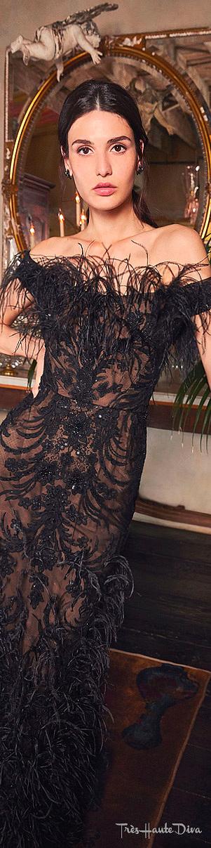 Marchesa Resort 2020 Black Ostrich Feather-Embellished Organza Gown