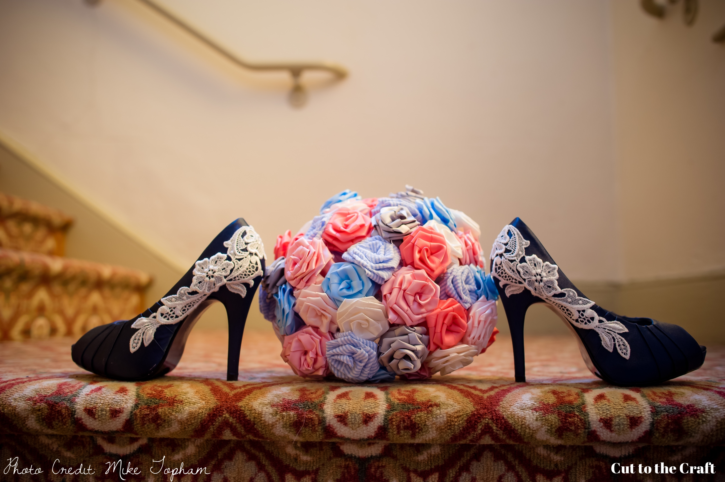 I obviously have pictures of my bouquet without my shoes.  But seriously... look at those shoes.