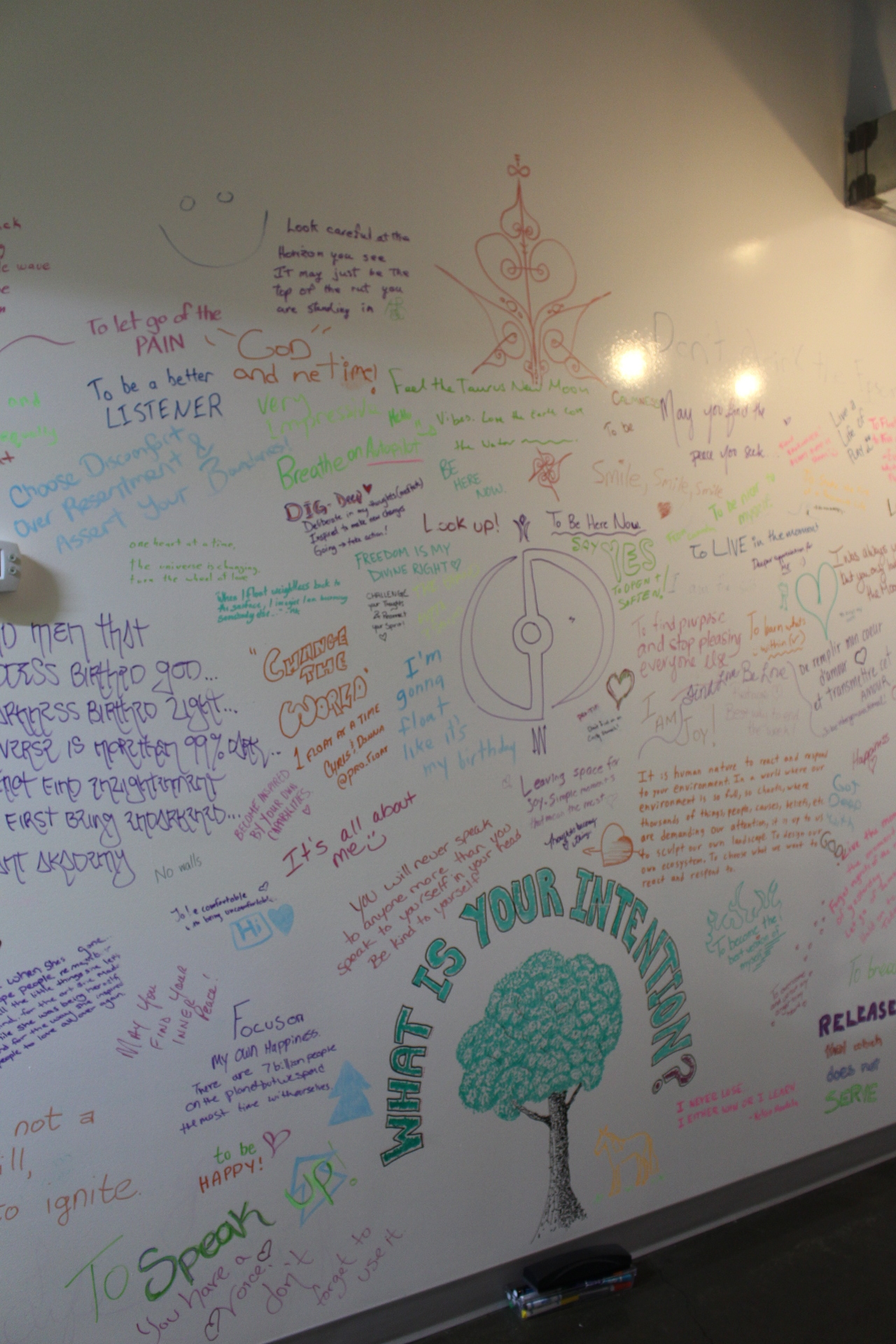 The amazing intention setting wall.