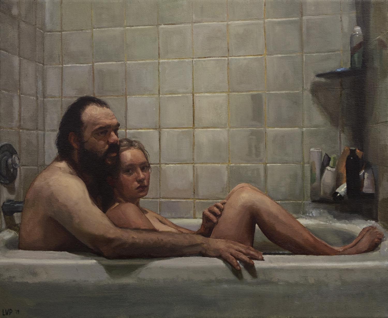 """Figures in Bathtub,"" 18x20in 2019"