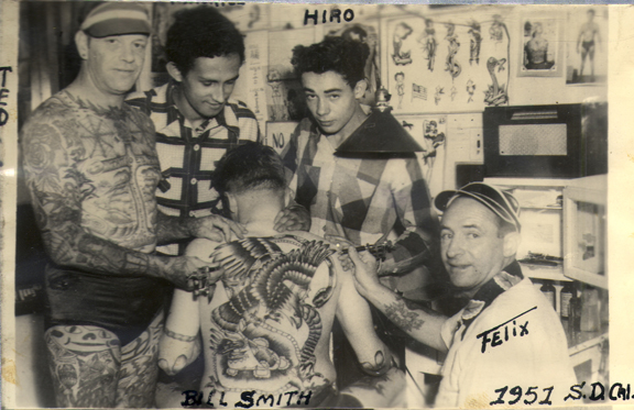 """Tahiti Felix"" Lynch (bottom left) along with sons Maurice (L) and Hiro (R)"