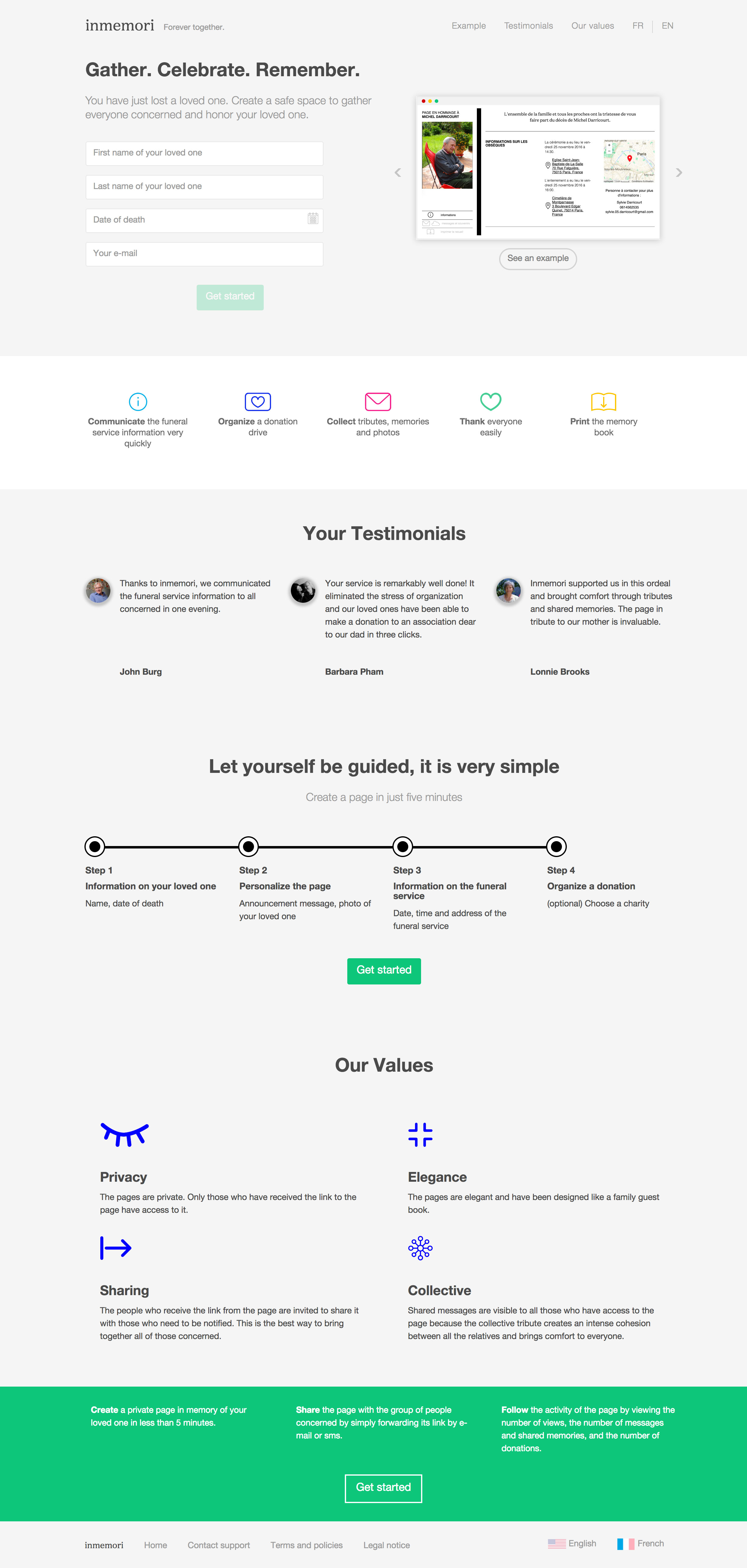 InMemori's website before redesign