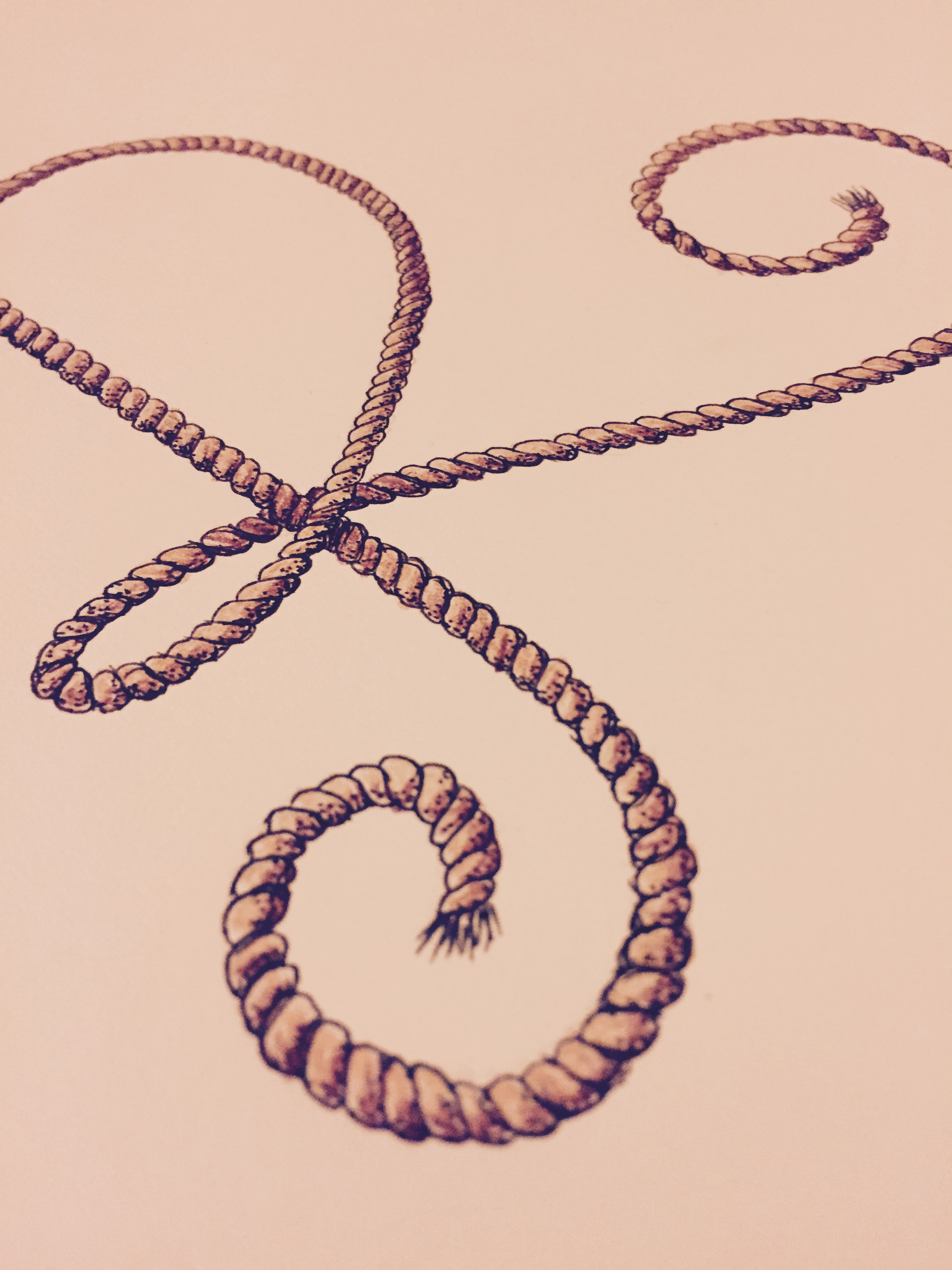 Lettering experiment R like rope by Cécile Parker